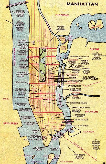 Marvel Map Of New York.Marvel Comics S Version Of New York City Maps Fictional