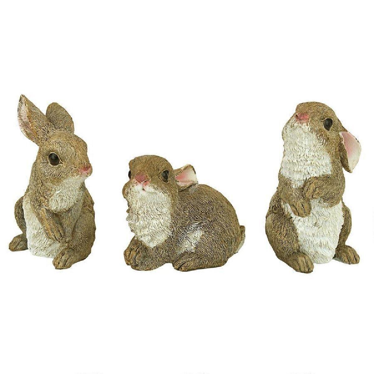 Set of 6 Baby Bunny Rabbit Spring Outdoor Garden Easter Figures 5″