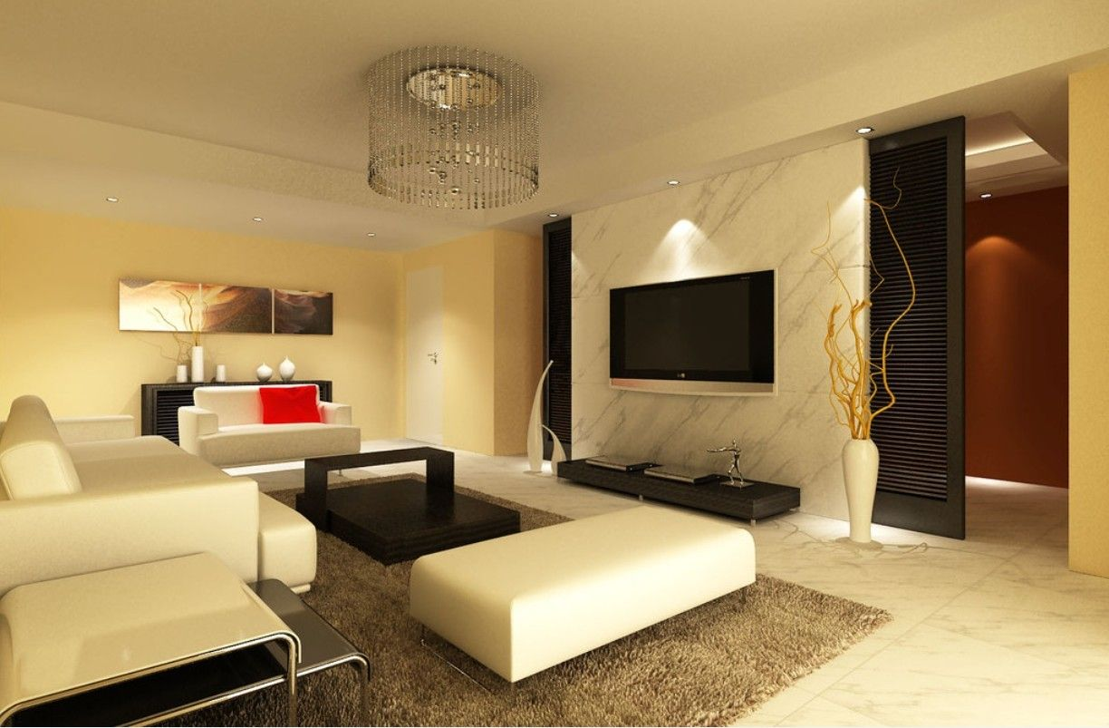 Wall Mount TV Living Room Design Ideas with Latest Gypsum Board ...