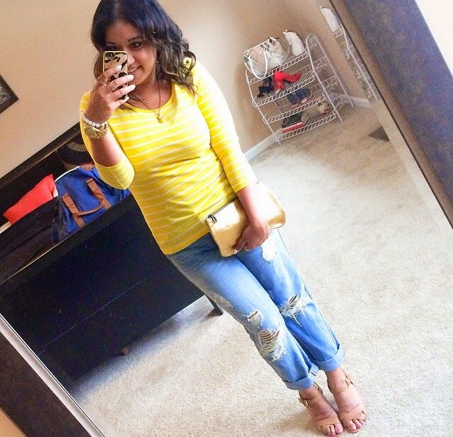 Yellow striped tee + ripped boyfriend jeans + nude sandals