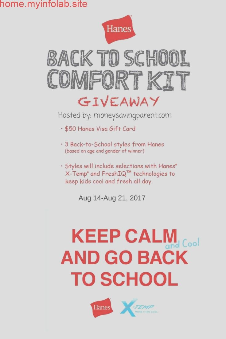Back to School is Cool with Hanes! $50 VISA Gift Card and Comfort Kit Giveaway Back to School is Cool with Hanes! $50 VISA Gift Card and Comfort Kit Giveaway