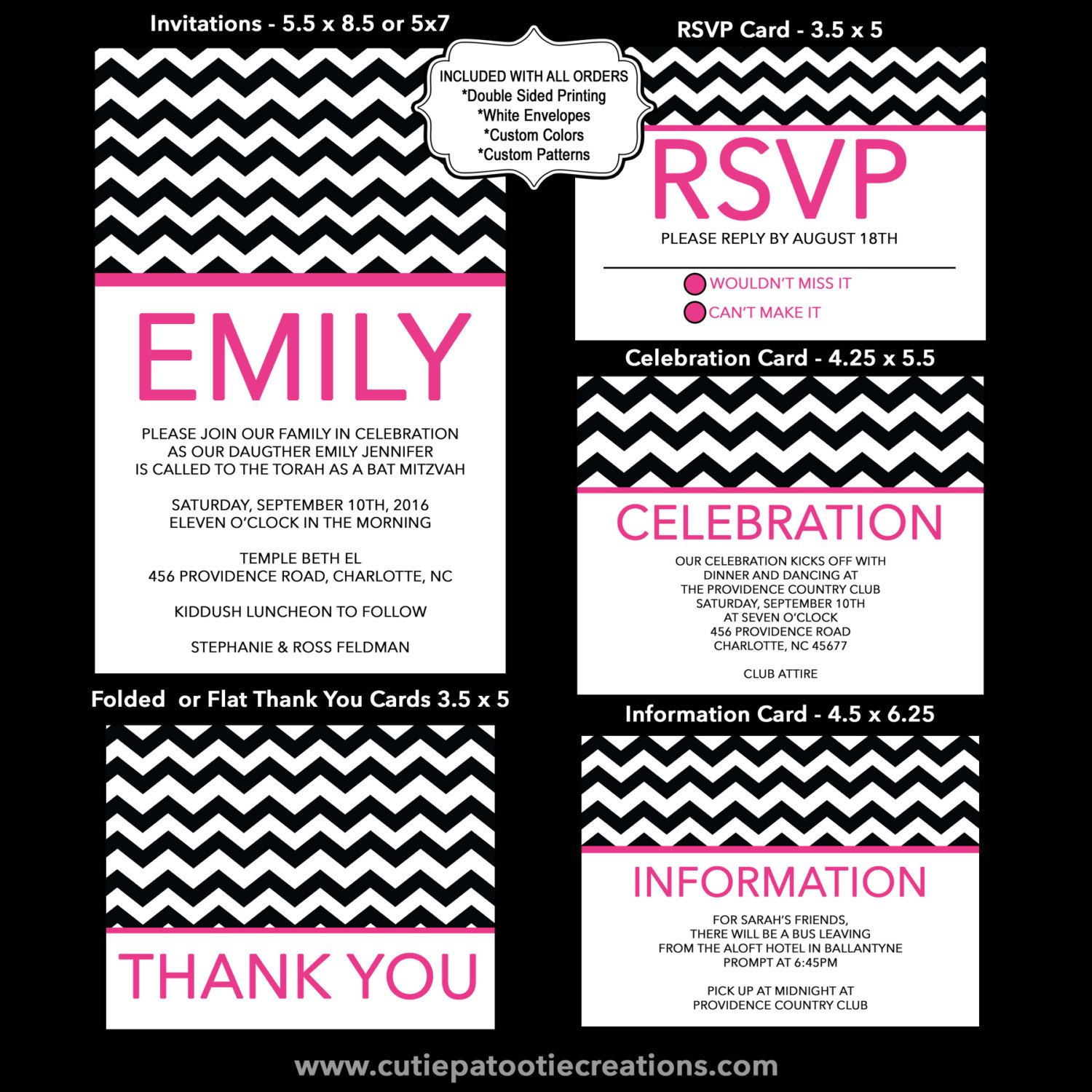 Hot Pink and Black Chevron Theme Bat Mitzvah Invitations, USE for ...