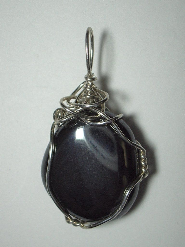 Hematite Pendant Wire Wrapped .925 Sterling Silver | Wire wrapping ...