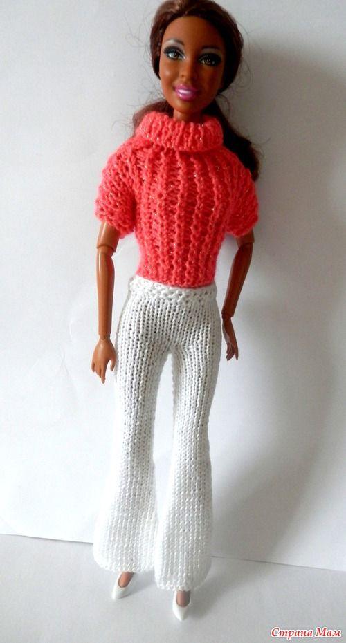 """Модель 161 Розовый свитер и брючки """"Copyright © www.stickatillbarbie .se\\"""""""