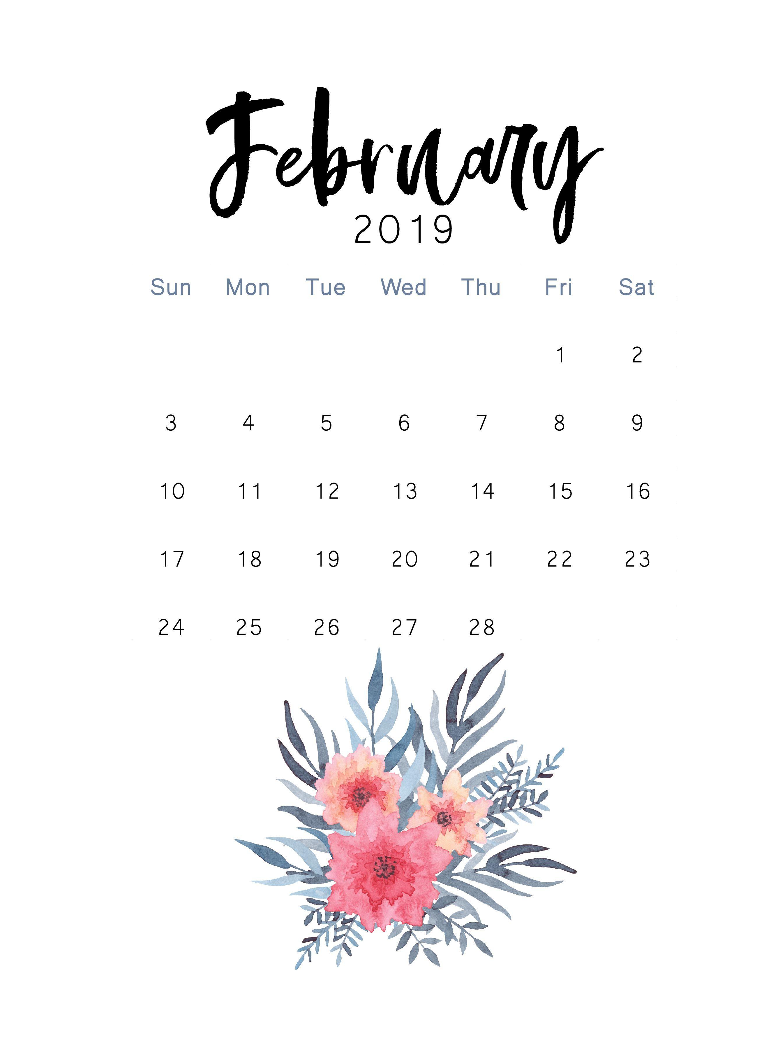 February 2019 printable calendar | The Cactus Creative ...