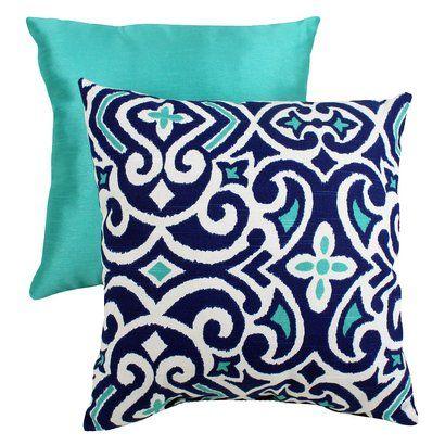 Decorative Damask Square Toss Pillow - Blue/ White.