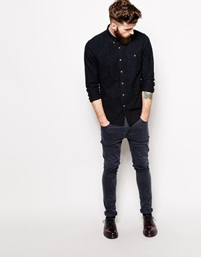 Enlarge ASOS Oxford Shirt In Black With Long Sleeve And Neps