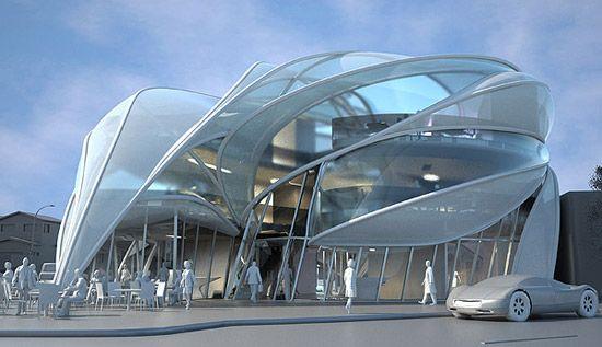 Futuristic Architecture Concept Futuristic Sci Fi Building In L A Futuristic Architecture Commercial And Office Architecture Architecture