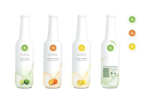 Branding - Japanese Cocktail bottle on Behance, simple, effective design that clearly reflects the fruit that is contained within the beverage, with white and neutral colours emphasising the purity and healthy aspect of the drink.