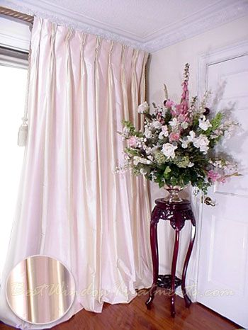 Thai Silk Pleated Drapery Curtain Panel In Two Tone Pale Pink And Ivory Want