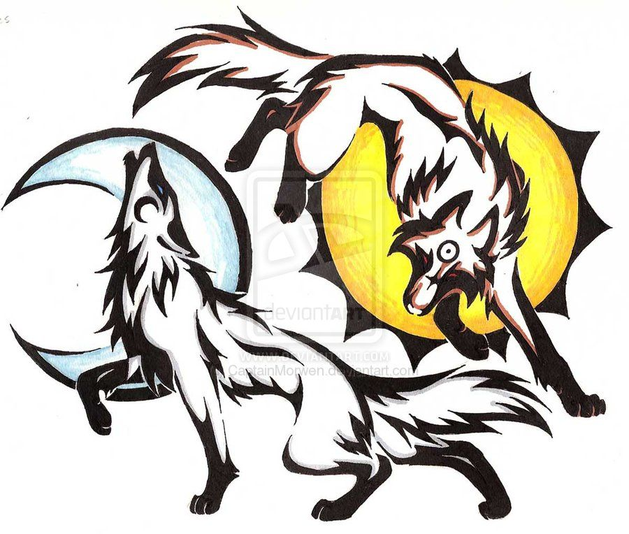 Sun And Moon Fox And Wolf Sun And Moon Drawings Drawings Moon Drawing
