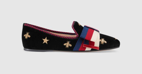 e78d721d8c43 Gucci Embroidered velvet ballet flat with Sylvie bow