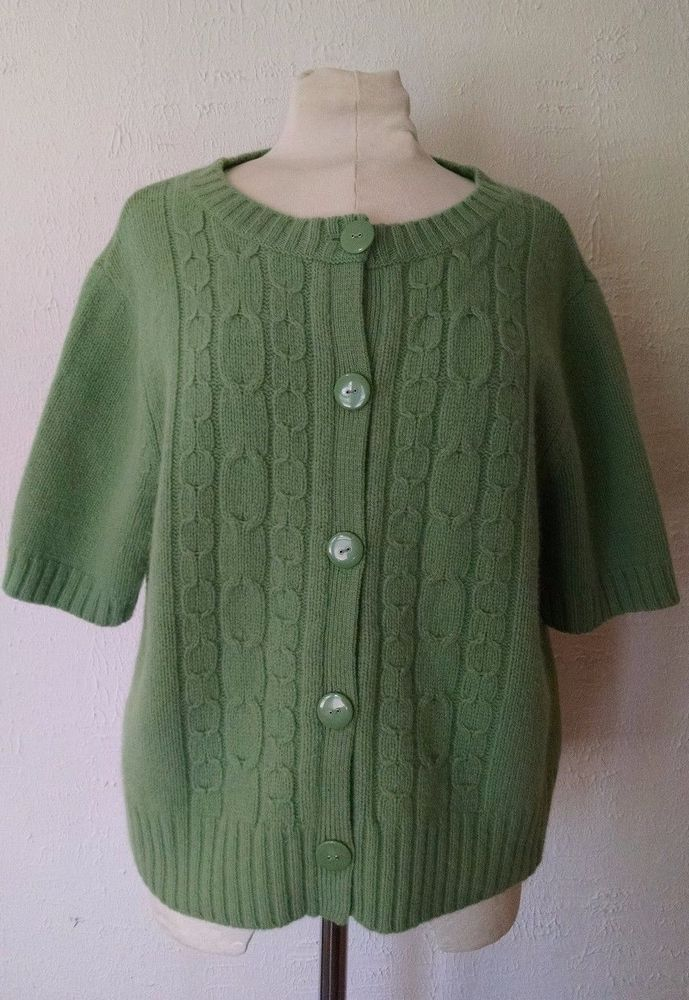 Deane & White Cardigan Sweater XL Green Short Sleeve Cardigan Wool ...