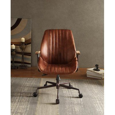 17 Stories Southampton Genuine Leather Executive Chair Upholstery Color Cocoa In 2020 Home Office Chairs Stylish Chairs Wayfair Living Room Chairs