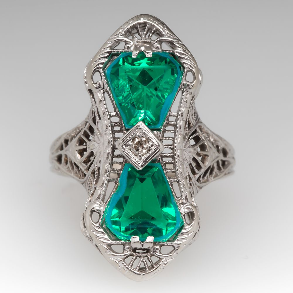 Antique Green Glass Filigree Ring