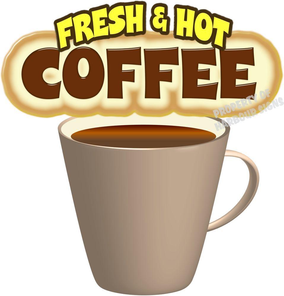 "8/"" x 7.5/"" Coffee Decal Fresh /& Hot Restaurant Concession Trailer Food Truck Menu"