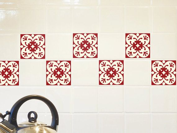 Tile Decals SET Of 15 Tile Stickers For Kitchen Tiles Geometric Decal RED  WINE, Backsplash