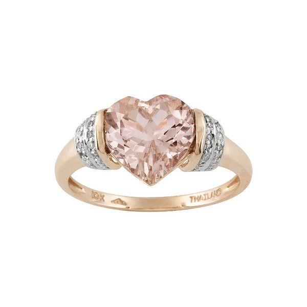 Fine Jewelry Genuine Morganite & Diamond-Accent Heart-Shaped Ring B7umSdhdk4