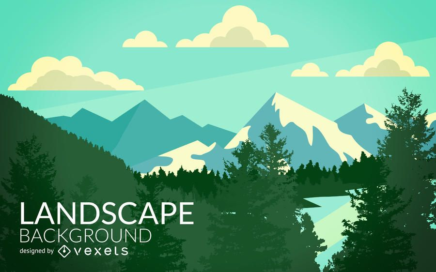 Flat Landscape Illustration Featuring Lots Of Mountains And Woods Designed In Tones Of Green And Blue Wit Wooded Landscaping Landscape Illustration Landscape