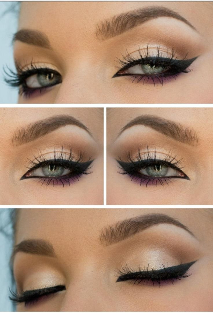 long winged eyeliner with the crease defined and darker shadow