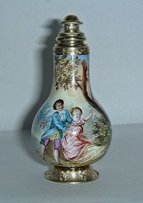 Could use light bulbs to make!  FINE 19C VIENNESE ENAMEL GILT SILVER PERFUME SCENT BOTTLE
