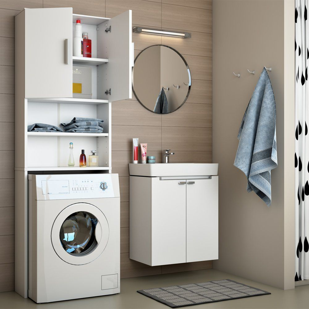marvelous badezimmer schrank waschmaschine #1: Badregal Hochschrank Waschmaschine Bad Schrank Badezimmerschrank Überbau  weiss: Amazon.de: Küche u0026 Haushalt