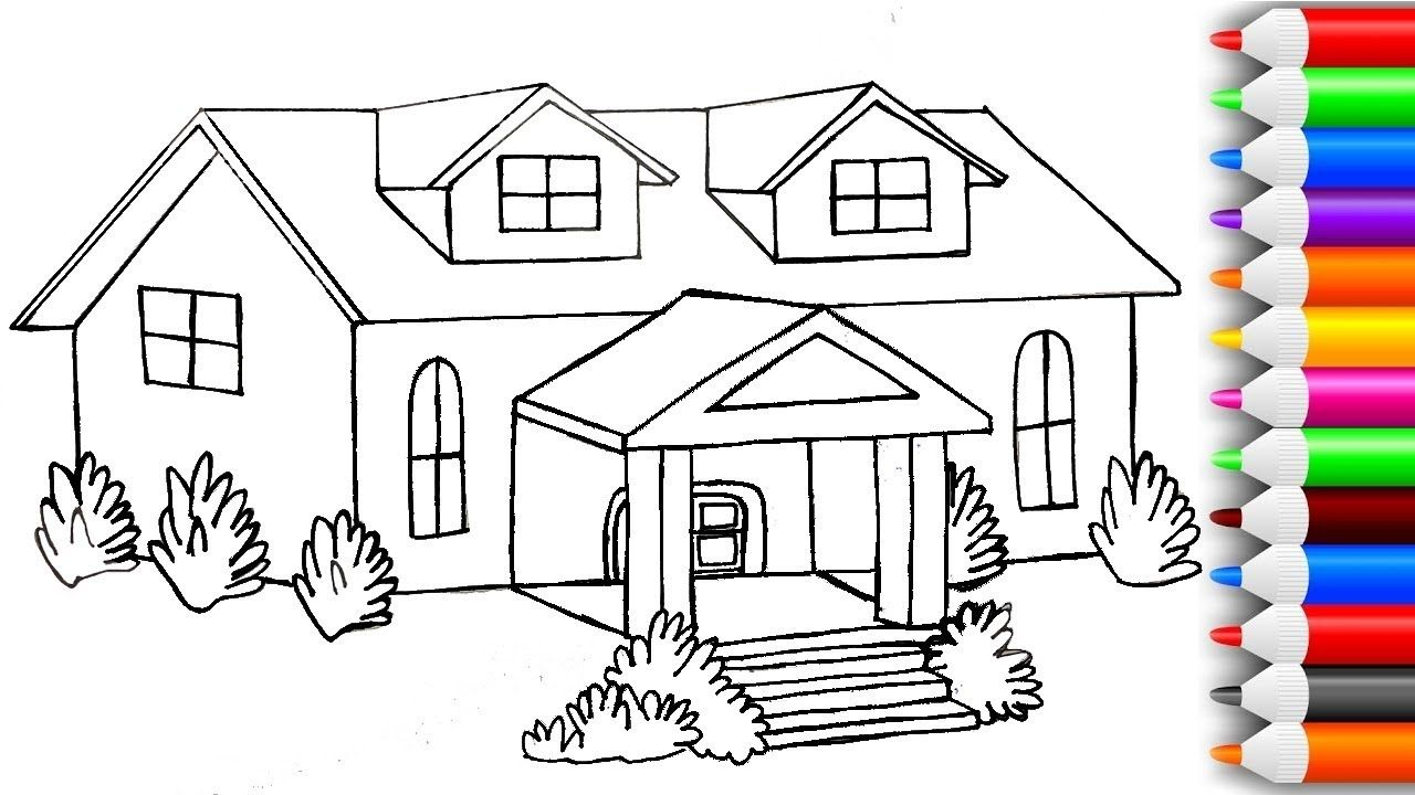 How To Draw And Color 3d House Coloring Pages Play With Colors