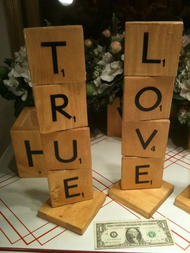 Scrabble deco for wedding reception, showers or parties....We can make these for you...check out all the possibilities!