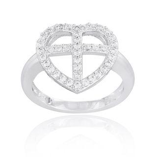 Icz Stonez Silvertone Cubic Zirconia Cross Heart Ring