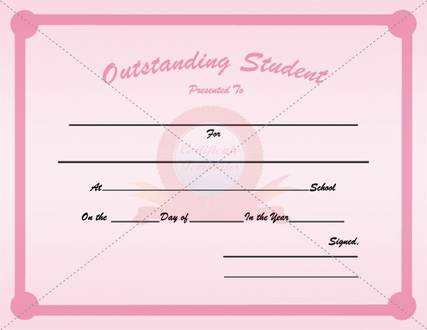 Outstanding Student Certificate Template For Female