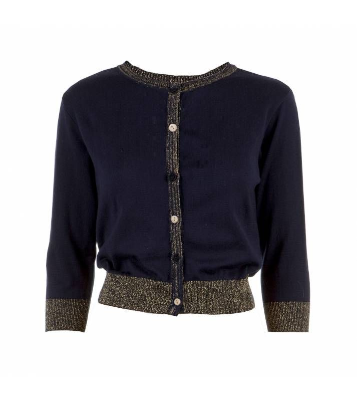 Women's Classic Cotton Cardigan in Sparkly Navy | Clothing I Like ...