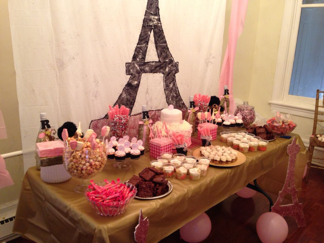 paris themed baby shower dessert and candy table ideas
