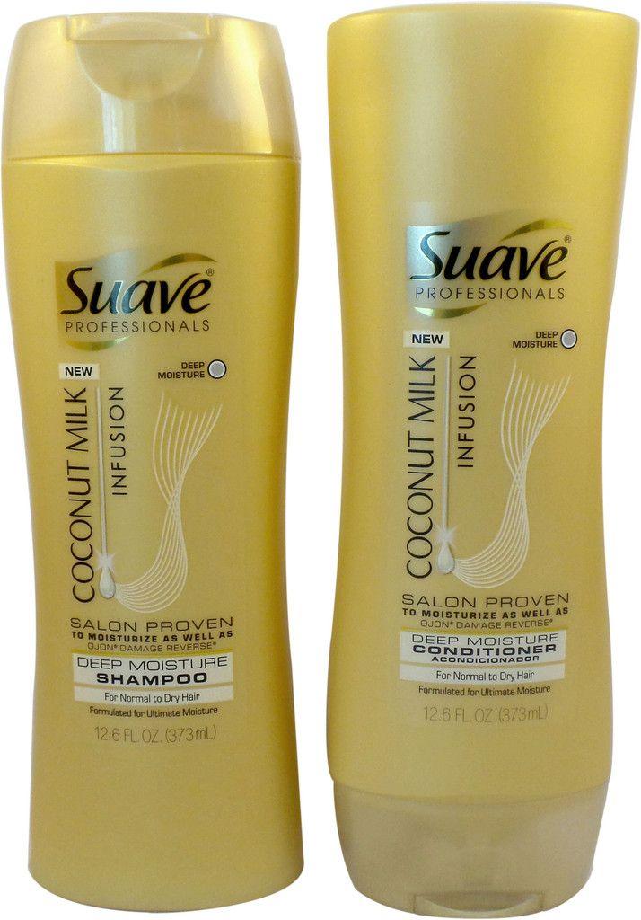 Suave Professionals Deep Moisture Coconut Milk Infusion Bundle: Shampoo and Conditioner 12.6 oz Set
