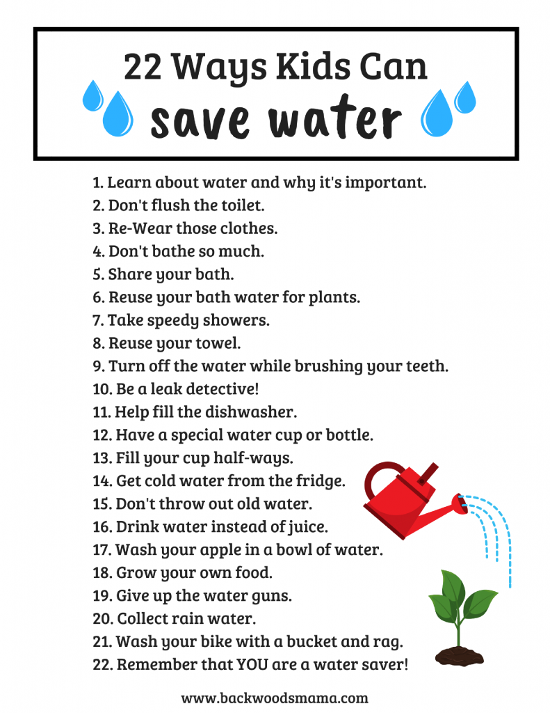 22 Ways Kids Can Save Water Backwoods Mama Water Conservation Activities Save Water Water Lessons [ 1024 x 791 Pixel ]