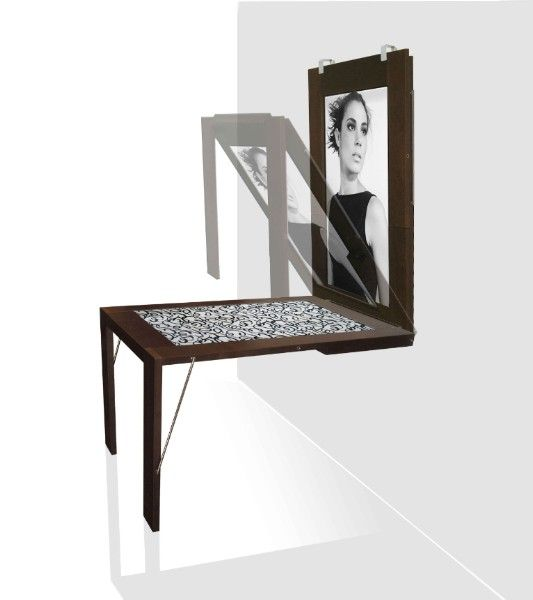This innovative product is perfect for limited and / or creative spaces. It appears as a large picture frame when retracted, but it converts into a comfortably sized dining set when unfolded. A picture is displayed in wall mode and a decorative textile is displayed in table mode. The pictures and textiles are interchangeable. Can also be used as very modern side tables.