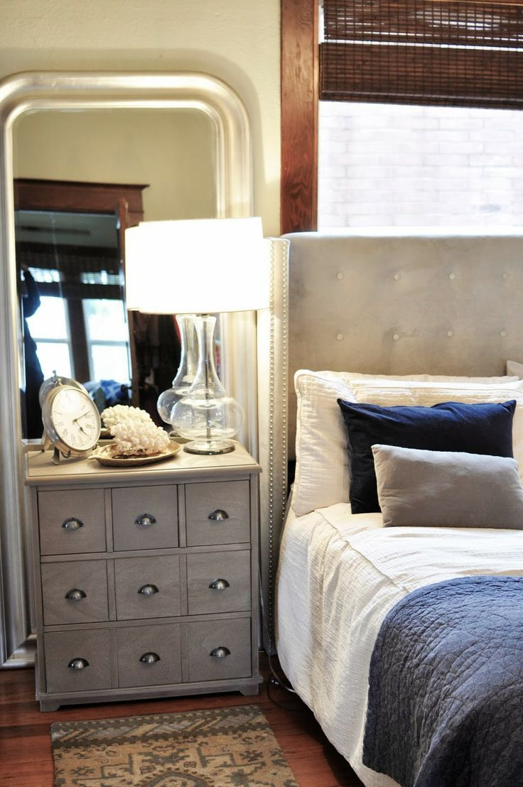 Master Bedroom Threshold Target Nightstand Upholstered Bed Navy Gray Youpaidmorethanme