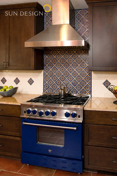 Blue Star Kitchen Stove With Mexican Backsplash Tiles In