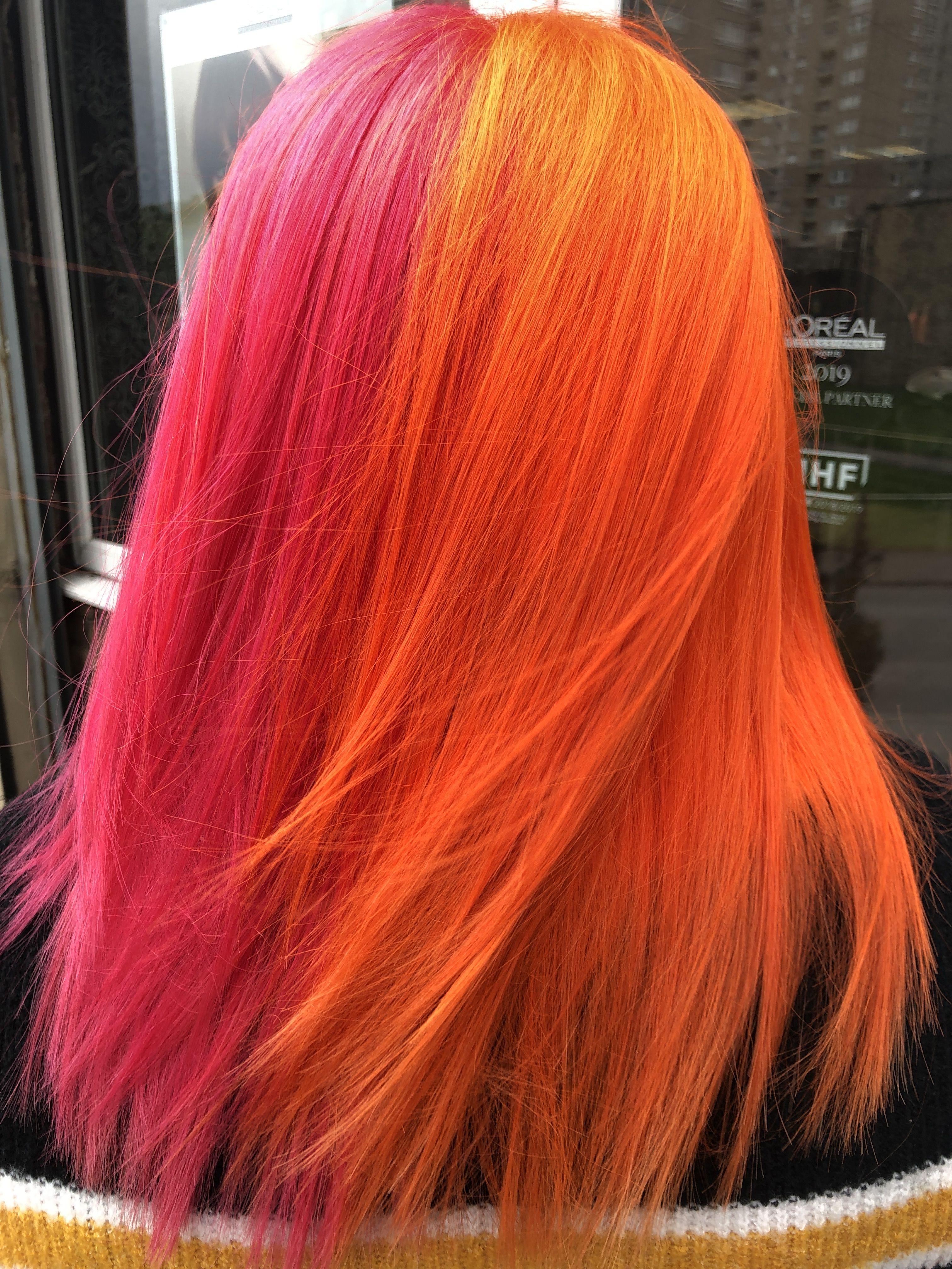 Splithair Orange Pink Neon Hair Colour Split Dyed Hair Two Color Hair Pink Peach Hair