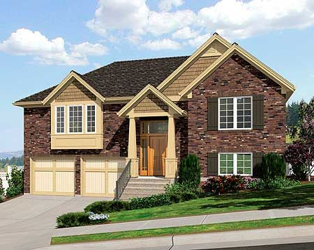 Plan 39197st Bi Level Home Plan Bi Level Homes House Plans Craftsman Style House Plans