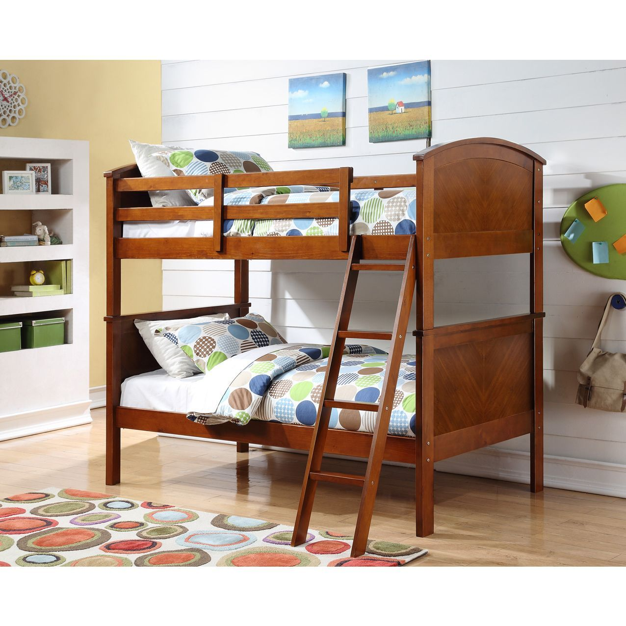 Loft bed twin over queen  Donco Kids Twin over Twin Arch Panel Oak Finished Bunk Bed Twin