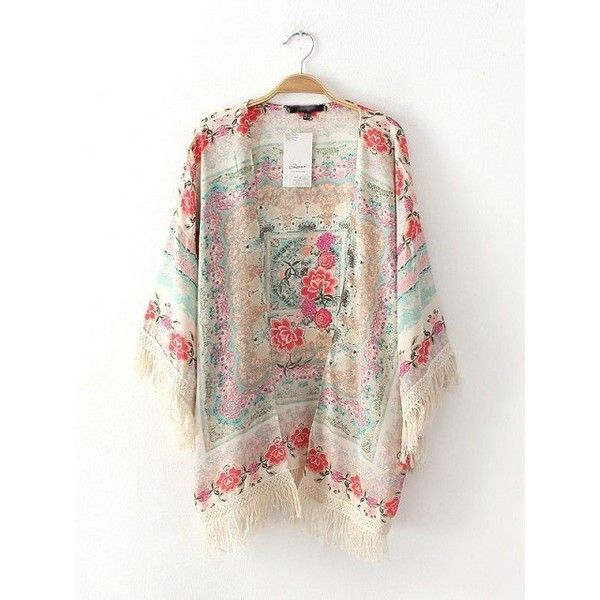 Summer Thin Short-Sleeved Printed Mixed Colors Fringed Bat Sleeve ...