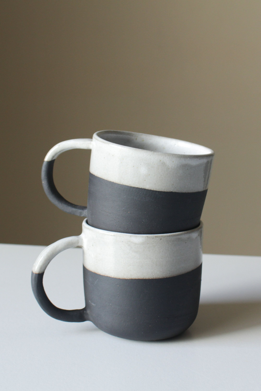 Cord X Clay Ceramic Coffee Mugs Black With White Glaze Handmade Modern