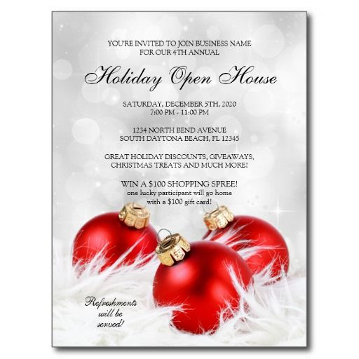 Elegant Business Holiday Open House invitation Postcard u2026 Pinteresu2026 - christmas dinner invitations templates free