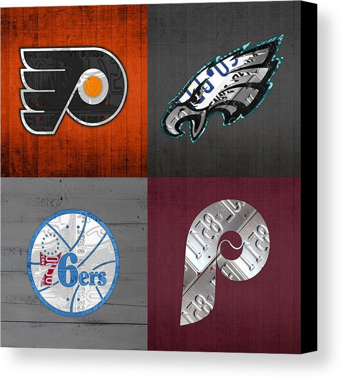 Philadelphia Sports Fan Recycled Vintage Pennsylvania License Plate Art Flyers Eagles 76ers Phillies Canvas Print Canvas Art By Design Turnpike License Plate Art Plate Art Philadelphia Sports