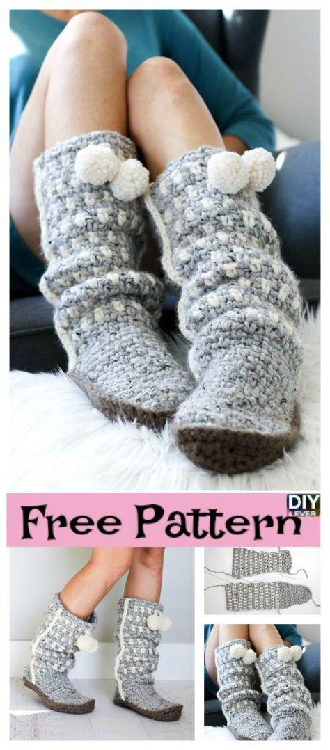 Easy Stylish Crochet Slippers Free Pattern Crocheted Slippers