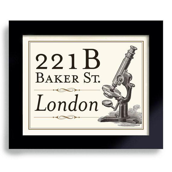 Sherlock Holmes Gift Poster, 221B Baker Street, Gift for Sherlock Fan Sherlocked, Geekery, London England, Art Print English Gift