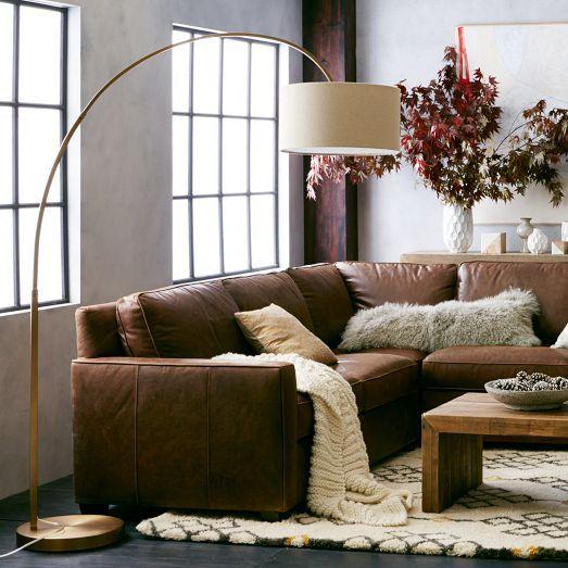 Overarching linen shade floor lamp antique brass decoracin overarching floor lamp antique brass west elm aloadofball Choice Image