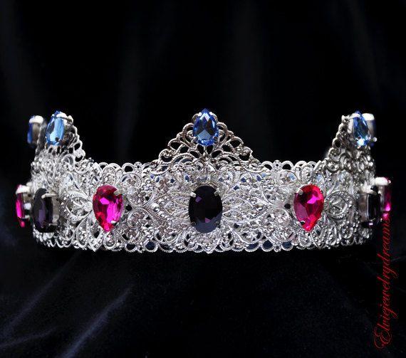 Purple Pink Silver Wedding Metal Crown Tiara By Elviejewelrydreams