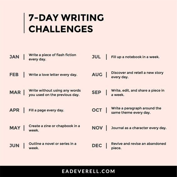 7-Day Writing Challenge   Creative Writing Prompts