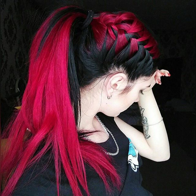 Red And Black Hair Red Ombre Hair Hair Styles Cool Braid